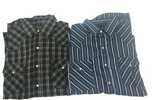 Plains-Mens-Large-Lot-Of-2-Black-Plaid-Blue-Stripe-Pearl-Snap-Lightweight-New