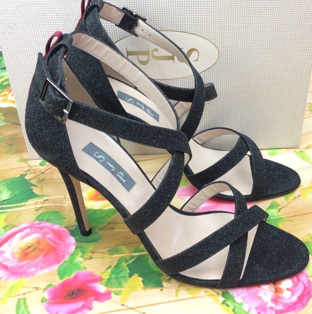 SJP Sarah Jessica Parker Strut Strappy Sandal Heels Doozy Black Glitter EU 38.5