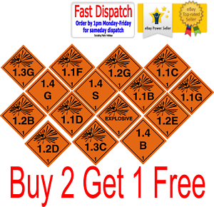 Business & Industrial Health And Safety Hazard Sticker Explosive 1.3g Sticker Orange