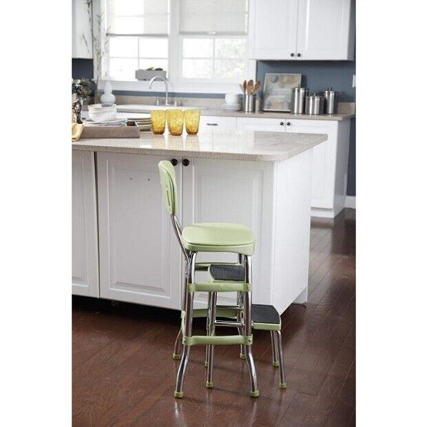 Vintage Kitchen Step Stool Chair Retro Counter Height Metal Kitchen  Furniture