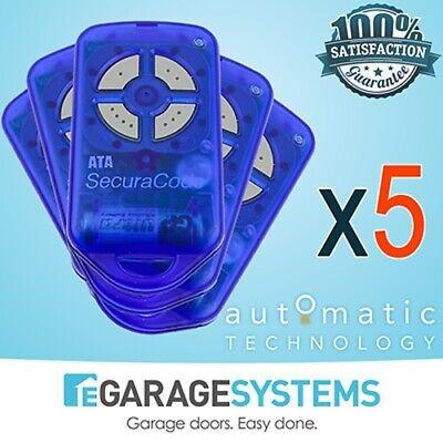 PTX-4 Blue ATA Garage Door Remote Control SecuraCode Genuine PTX4 GDO6 5 Pack