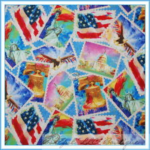 BonEful-Fabric-FQ-Cotton-Quilt-Red-White-Blue-America-Stamp-Flag-Eagle-USA-HERO