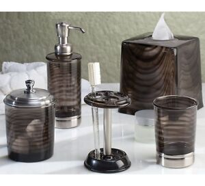 Black Tinted Bath Accessories Bathroom Sink Accessory Brushed Nickel Accents Ebay