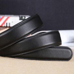 Mode-Herren-PU-Leder-Automatikgurt-Guertel-ohne-Schnalle-Taille-Strap-Schwar-C4B4