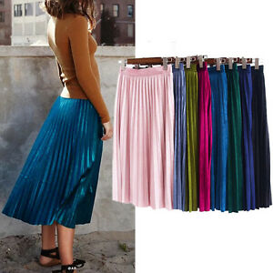 Shiny Velvet Midi Skirt Girls High Waist A Line Pleated Skirt UK ...