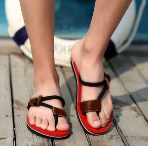 Mens-flip-flops-thong-Leisure-comfort-beach-slippers-flat-sandals-clip-toe-shoes