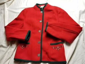 Austria Vintage l Womens In Bean Made Wool 36 Christmas L Medium Size Red qqrznUx6