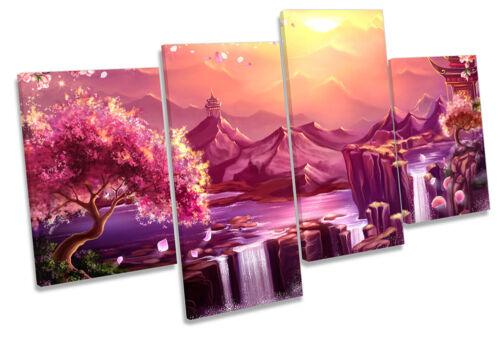 Oriental paysage cascade encadrée Multi Toile Imprimer Wall Art