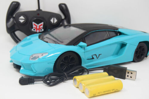 Limited Edi Lambo Sports Blue Rechargeable Radio Remote Control Car Black Hood