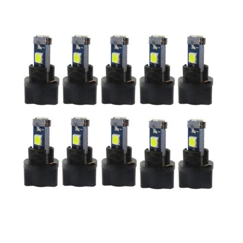 10Pcs T5 Twist Socket Instrument Cluster Panel Gauge Dash LED Bulb White