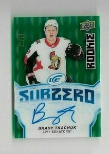 2018-19-UD-ICE-BRADY-TKACHUK-RC-SP-AUTO-Green-25-Subzero-CASE-HIT-UDA-OTTAWA