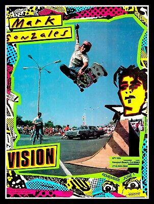 VINTAGE YELLOW  VISION SKATEBOARD MARK GONZALES MARK GATOR ROGOWSKI STICKER