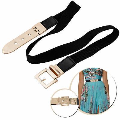 Lady Slim Waist Belt Gold Buckle Elastic Stretch Dress Narrow Thin Waist Band