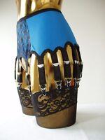 Size Small Electric Blue 14 Strap Suspender Belt Designer Retro Burlesque Styled