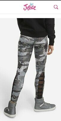 NWT JUSTICE GIRLS 8 10 14//16 OUTFIT ~ RED TEE FOIL MESH CAMO MESH LEGGINGS
