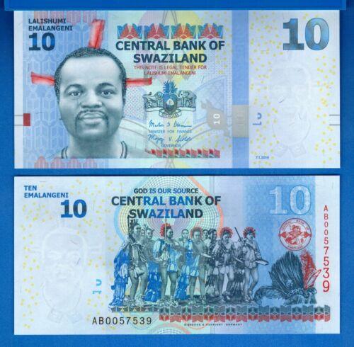 Swaziland P-36b 10 Emalangeni Year 2014 Uncirculated Banknote