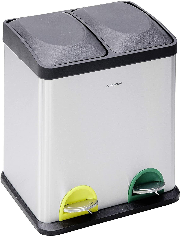 Arregui Cubo de basura y reciclaje Step Bin 30L CR705 15+15