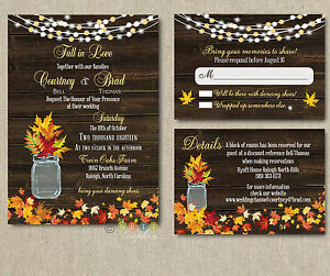 Details About 100 Personalized Autumn Rustic Fall Wedding Invitation Suite