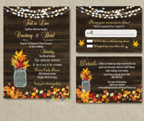 100 Personalized Autumn Rustic Fall Wedding Invitation Suite