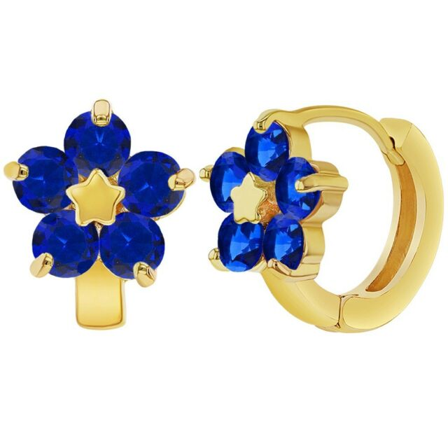 f29e71d96 18k Gold Plated Navy Blue Flower Huggie Hoops Teens Womens Earrings ...