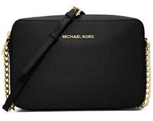 MICHAEL-KORS-Womens-Jet-Set-Travel-Lg-Ew-Cross-body-Shoulder-Bag-Genuine-Black