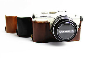 Leather Half Camera Bottom Case Bag For Olympus Pen E Pl9 Epl9 E Pl8 Epl8 Ebay