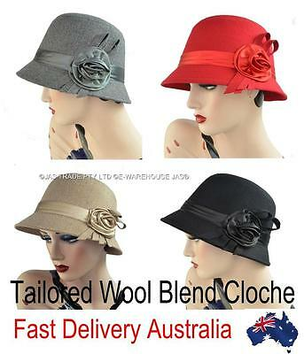 Wool Blend Cloche Ladies Great Gatsby 20s Bucket Flapper Party Felt Hat ROSE