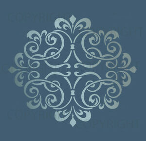 Choose Custom Size LARGE WALL DAMASK STENCIL PATTERN FAUX MURAL DECOR #1014