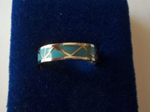 Taille 8 Argent Sterling Zig Zag Turquoise incrusté 5 mm Wide Band Ring
