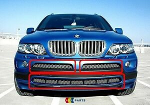 BMW-NEW-GENUINE-X5-E53-03-06-SPORT-FRONT-TITAN-BUMPER-GRILL-MESH-SET-OF-THREE