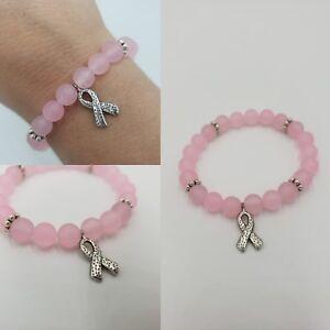 Details About Matte Pink Jade T Cancer Awareness Bracelet