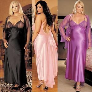 Plus-Size-Lingerie-Size-1X-2X-3X-Black-Pink-Purple-Charmeuse-Long-Gown-SOHX20116