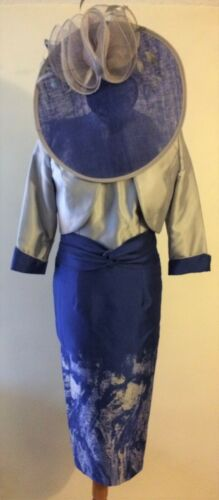 CABOTINE MOTHER OF THE BRIDE SILVER GREY /& COBALT PRINT DRESS AND JACKET NEW