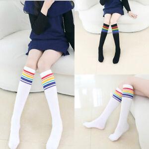 659d43216 Kids Girls Knee High Long Elastic Socks School Stripes Soft Cotton ...