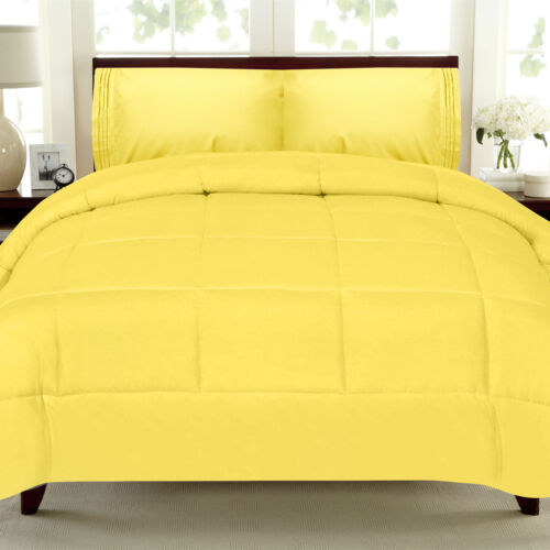 17 Solid Colors Box Stitch 100/% Polyester Down Alternative Comforter