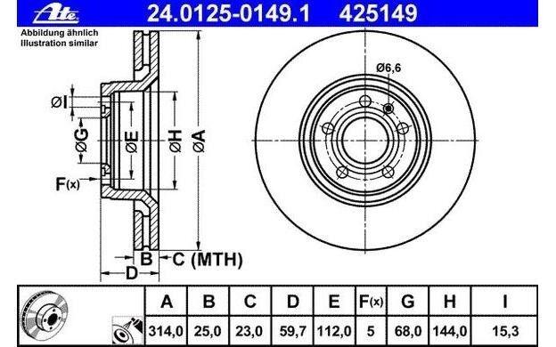ATE Juego de 2 discos freno Antes 314mm ventilado para AUDI A6 24.0125-0149.1