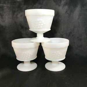 Set of 3 Vintage Milk Glass Sherbet Dessert Cups Embossed Grape Pedestal