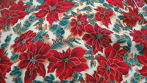 Christmas-Fabric-Red-Poinsettia-Holly-with-Berries-amp-Gold-Outlining-1-Metre