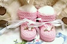 Booties 0-3 Mo Girls Pink Thread Crochet w/Pale Pink Ribbon Roses Handmade