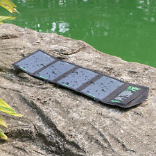 18W Foldable Portable Solar Panel Battery Charger Dual Port USB Power Bank Pack