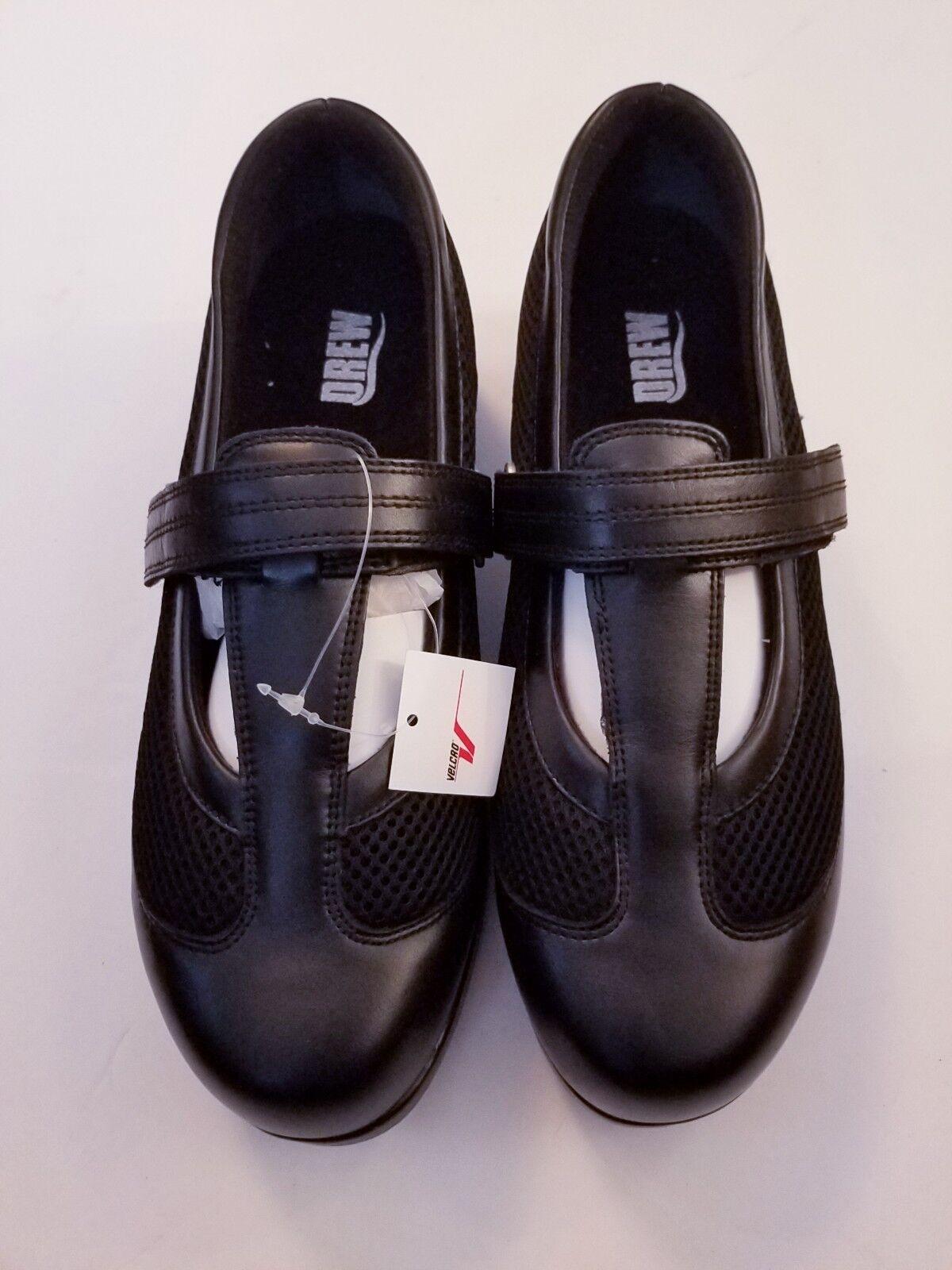 DREW Desiree Black Leather Mary Janes Women's Sz 9 Orthopedic Shoe $155  NEW