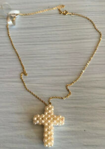 Cultured-Pearl-Cross-Pendant-amp-Gold-Tone-Chain-Necklace