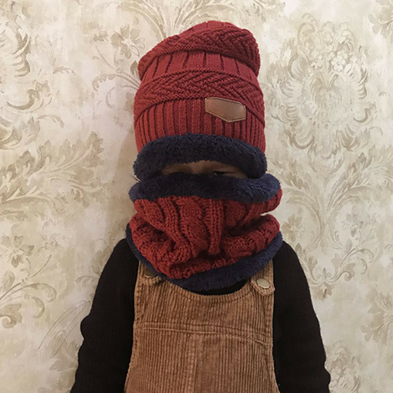 Boys Girls Kids Winter Hat Scarf Set Warm Knit Fleeced Beanie Cap Circle Scarf 4
