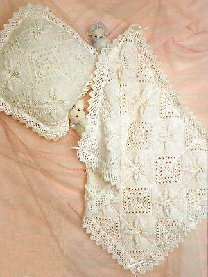 Baby Blanket Cushion Pram Cover Knitting Pattern DK 338