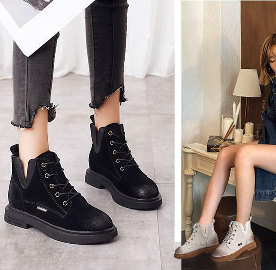 Womens Ankle Boots Ridding Retro shoes Lace Up Knight Round Toe Warm Casual V360