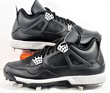 Nike Air Jordan 4 Retro Black \u0026 Grey Baseball Metal Cleats Sz 10 NEW 807710  110