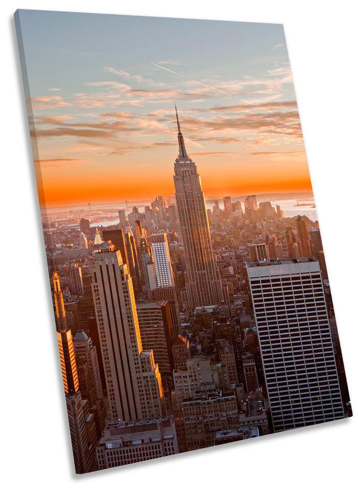 NEW York City Arancione del Tramonto tela incorniciato incorniciato incorniciato WALL ART PICTURE PRINT 6407ec