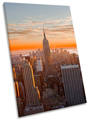 New York City Orange Sunset Framed CANVAS WALL ART Picture Print