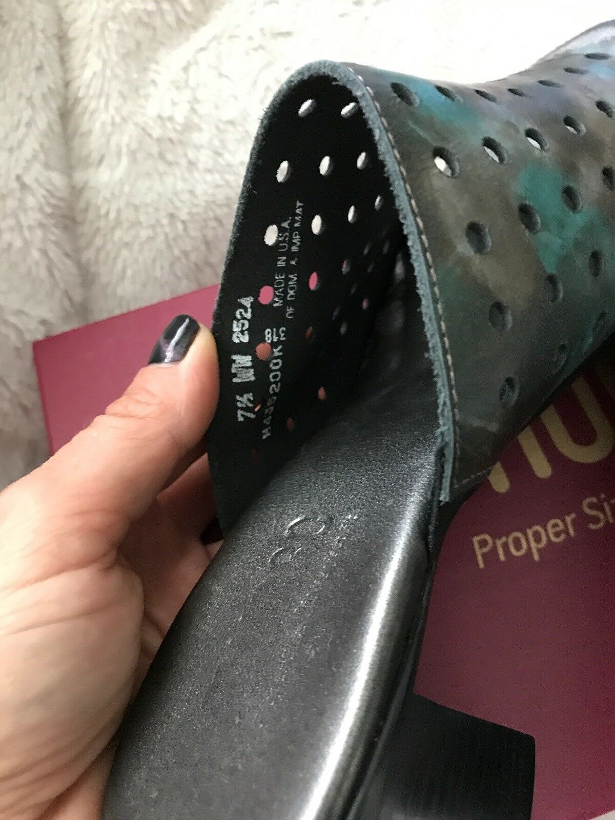 New Munro Jules Mixed Metal Perforated Heels Leather Stacked Heels Perforated damen 7.5 Open Toe 56cc42