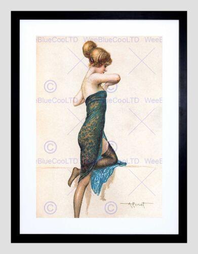 PAINTING POSTCARD LADY DRESS WOMAN DRAWING PENOT FRAMED ART PRINT B12X10868